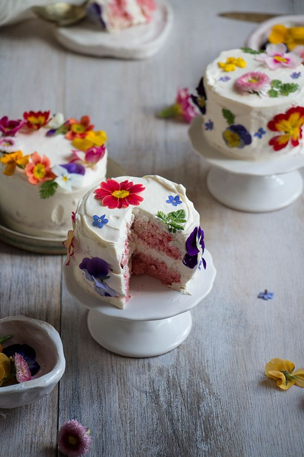 Birthday Cake Adorable Mini Cakes With Edible Flowers Perfect For