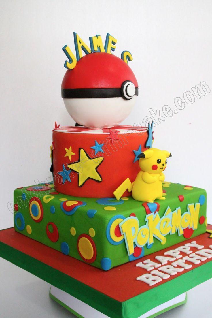 Cool Birthday Party Celebrate With Cake Pikachu Pokemon Cake Funny Birthday Cards Online Hetedamsfinfo