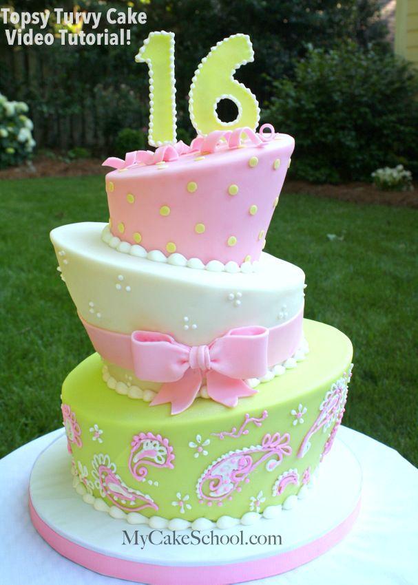 Birthday Cake Topsy Turvy Cake Video Tutorial From Mycakeschool