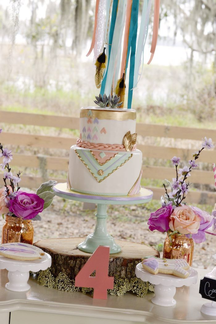 Birthday Decoration Cake Table From A Pocahontas Indian Boho