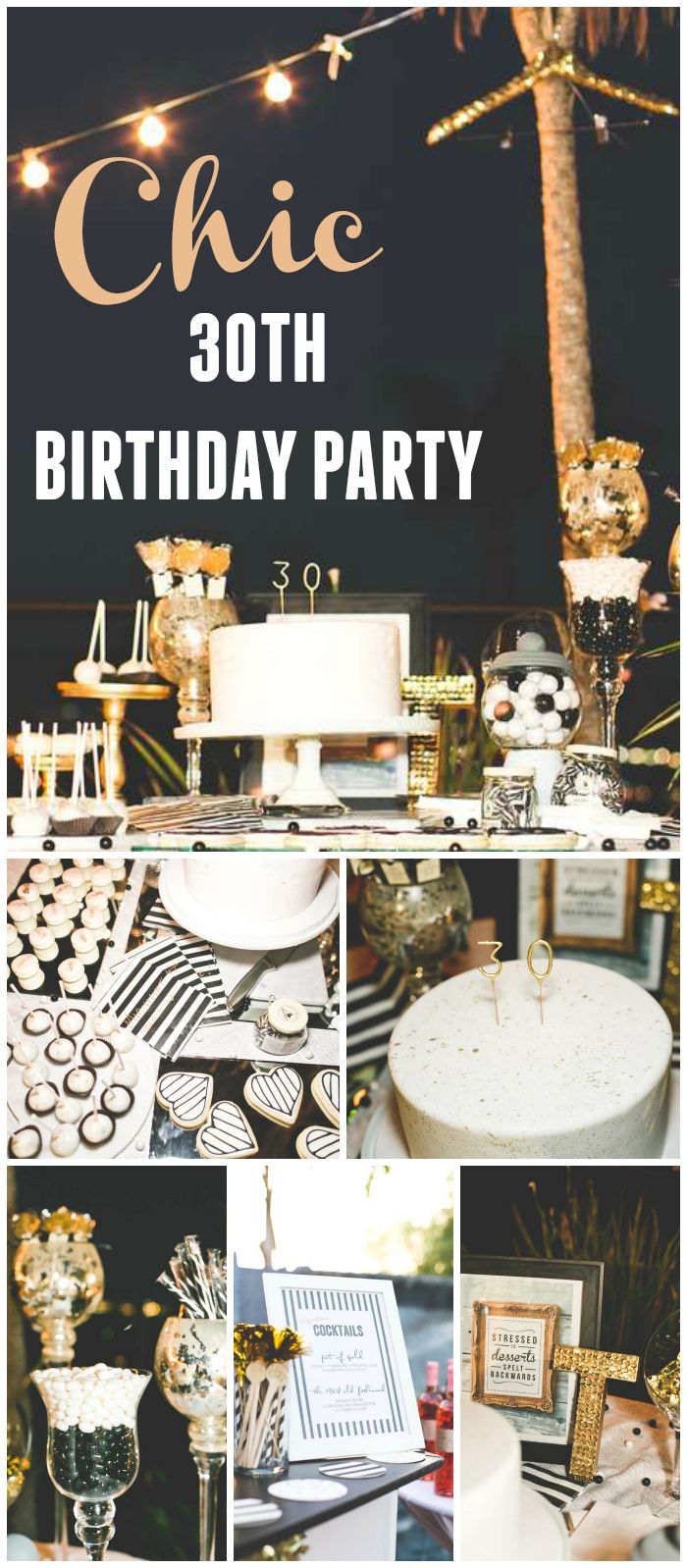 Description A 30th Birthday Cocktail Event Decorated In Black White