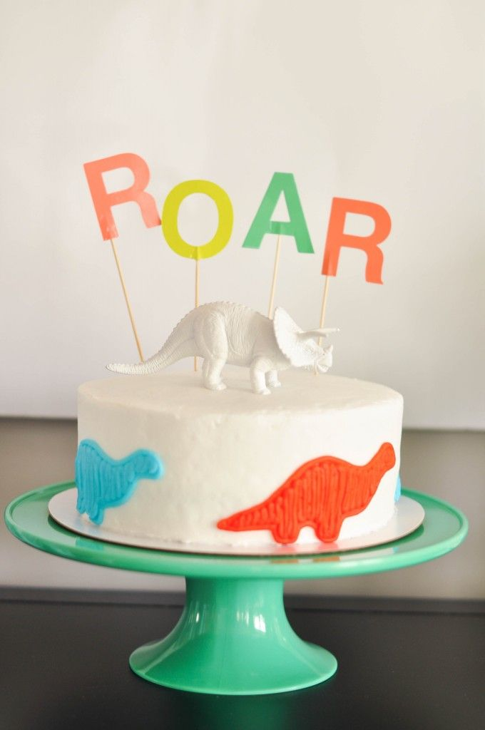 Birthday Decoration Ideas A Store Bought Dinosaur Birthday Cake With
