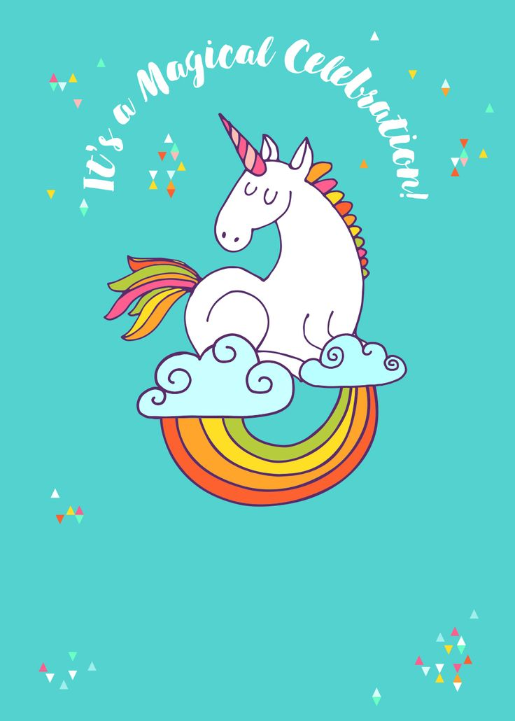 Birthday Party Invitation Unicorn Template