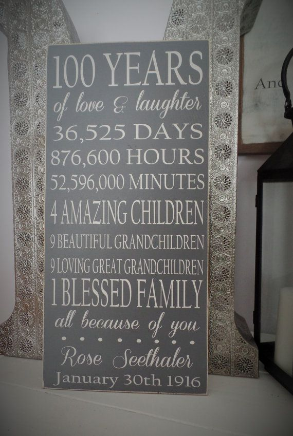 Birthday Gifts Inspiration Gift Wood SIgn 100 Year Wooden