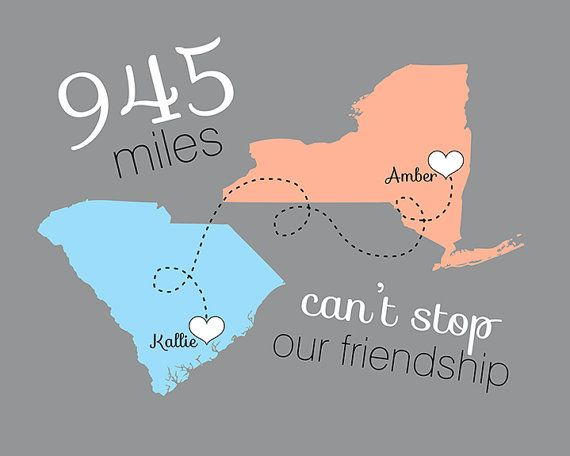 Birthday Gifts Inspiration Moving Away Gift For Friend Long Distance Friendship 8x10 Custom Map Miles
