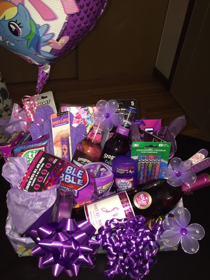 Description Purple Themed 21st Birthday Gift Basket