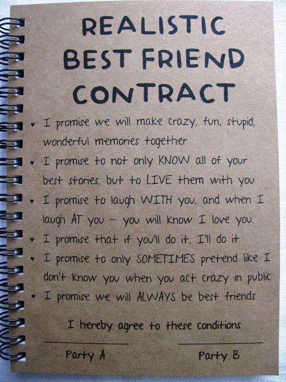 Birthday Gifts Inspiration Realistic Best Friend Contract 5 X 7 Journal By Journalingjane Jpg