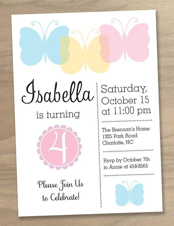 Birthday Inspiration Girls Butterfly Party Birthday Invitation