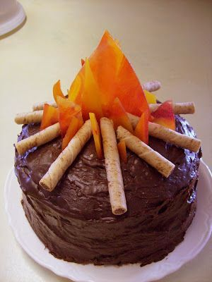 Astounding Birthday Party Campfire Birthday Cake The Flames Are Melted Funny Birthday Cards Online Alyptdamsfinfo