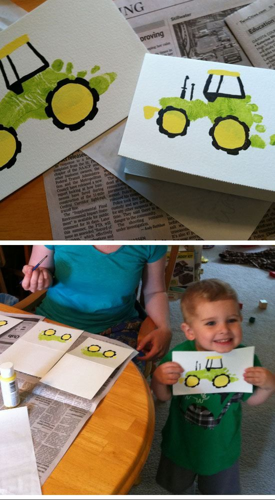 Birthday Gifts Inspiration Footprint Tractor Card Easy Fathers