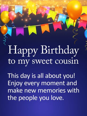 Birthday Quotes Description To My Sweet Cousin Happy Wishes Card