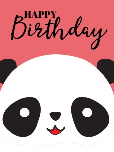 Happy Birthday Wiches Cute Panda Card For Kids What39s Black And White Red All