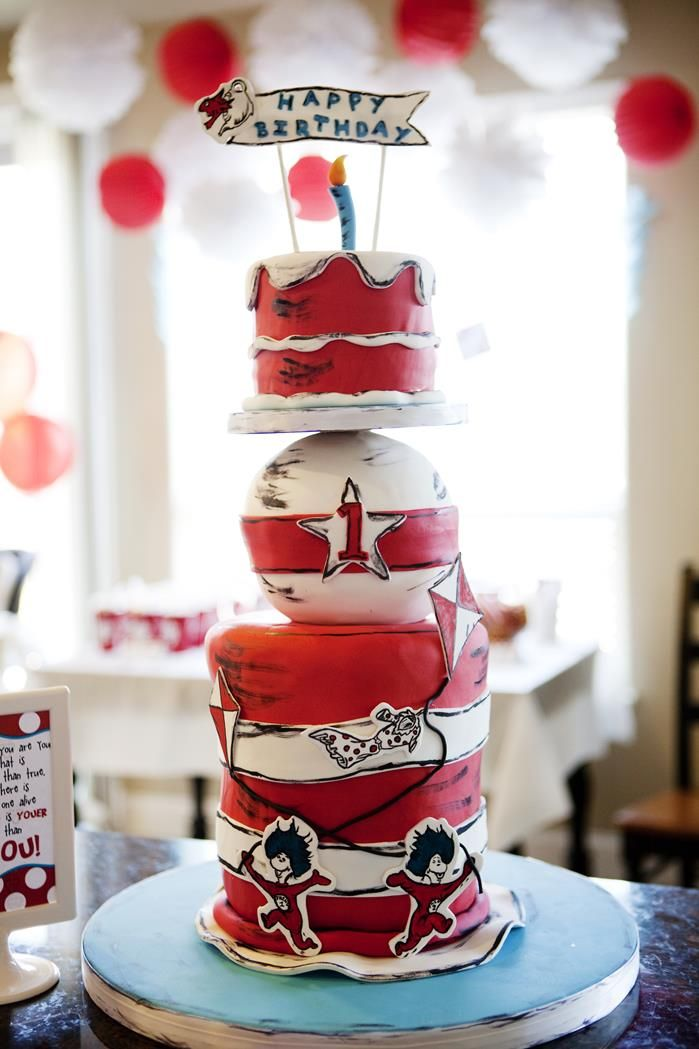 Birthday Party Inspiration Cake At A Dr Seuss Party Baby Shower