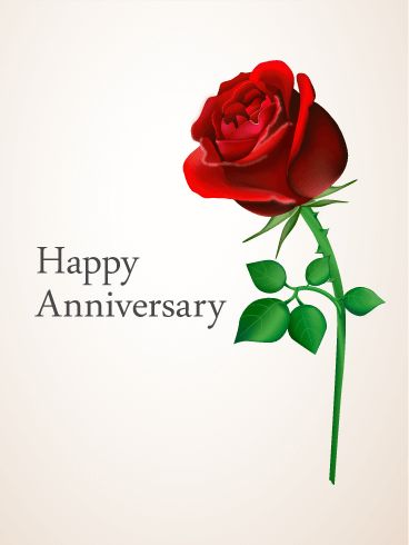 Birthday Quotes Description Red Rose Anniversary Card