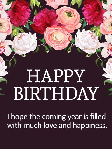 Happy Birthday Wiches Lovely Flower Happy Birthday Card Jpg