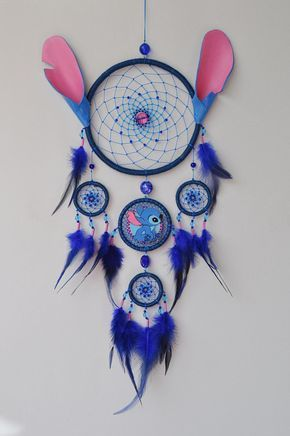 Birthday Gifts Inspiration Lilo And Stitch Fan Gift Blue Dream Catcher Wall Hanging Bab