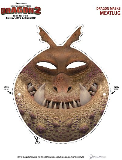 This is an image of Printable Dragon Mask for pattern